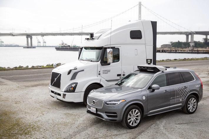 Uber が所有する AI 搭載の自動運転車両と自動運転トラック